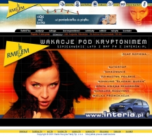 Layout serwisu Wakacje pod kryptonimem 2001