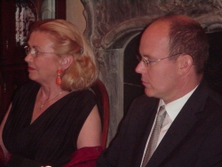 Barbara Piasecka-Johnson i książę Monako Albert podczas aukcji charytatywnej w Jasnej Polanie koło Princeton