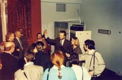 Uroczyste uruchomienie nadajnika RMF - od prawej: Tadeusz Sołtys, Aleksandra Zieleniewska, Stanisław Tyczyński